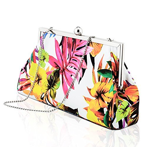 YVGS-Ladies-Evening-Clutch-Handbag-Purse-Bag-With-Detachable-Metal-Chain-for-Party-Wedding-Party-Floral