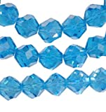 51 BZDEqxfL. SL160  Aqua Blue Crystal Fancy Cut Glass Beads Strand 10mm 16