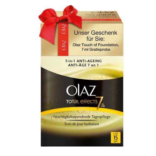 Olaz Total Effects Tagespflege mit UV Schutz und gratis Tetof medium mini, 1er Pack (1 x 57 ml)