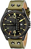 """Stuhrling Original Men's 699.03 """"Aviator"""" Day and Date Stainless Steel Watch with Green Leather Band"""
