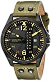 """Stuhrling Original Mens 699.03 """"Aviator"""" Stainless Steel Watch with Green Leather Band"""