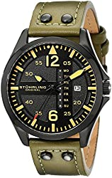 Stuhrling Original Men's 699.03 Aviator Quartz Day and Date Watch With Green Leather Band