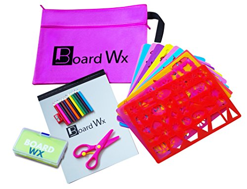 Board Wx Jumbo Drawing Stencils Kit The Ultimate Travel Activities Set for Kids Pink