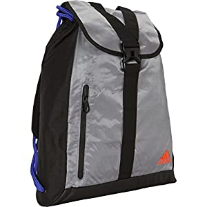 adidas Ultimate Core Sackpack, Grey/Night Flash Purple/Solar Red, 18.25 x 15-Inch