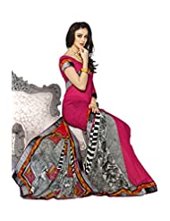 AG Lifestyle Pink Georgette Saree With Unstitched Blouse SNS228A