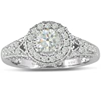 Antique Style 1ct Diamond Engagement Ring set in 14k White Gold ( I1/I2 G-H)