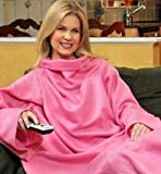 JML Snuggie Blanket - Soft-to-Touch Fleece with Large, Loose Sleeves - Pink