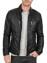 Noora Men's 100 % Pure Leather Jacket (NI74a_M_Black_Medium)