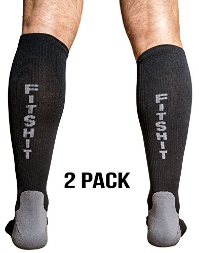 FITSHIT Premium Compression Socks: Graduated Stockings For Men & Women. Guaranteed To Prevent Swelling, Pain, Edema, DVT - Best Crossfit, Athletic Running, Travel, Nurses, Diabetic Recovery Sock - LG
