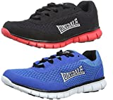 New Mens Ultra Lightweight Lonsdale Running Trainers Multi Sport Outdoor Shoes- Blue/Black/White ,Black/Red (Black/Red, 8 UK)