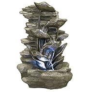 Fontaine Rochers avec Feuilles d'Argent et Lumieres