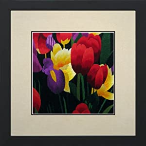 Susho, King Silk Art 100% Handmade Silk Embroidery - Colorful Tulip Bouquet - White Mat Framed Medium Size 36081WF