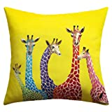 DENY Designs Clara Nilles Jellybean Giraffes Outdoor Throw Pillow, 16 by 16-Inch