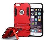 iphone 6 case slim anti slip Robot Kickstand Bumper Shock Absorbing Protective Case(Red)