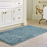 "Norcho Anti Slip Rubber Back Bathroom Antibacterial Rug Soft Water Absorbent Luxury Bathroom Door Mat 31""x19"" Light Green"