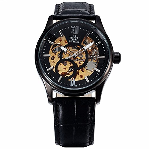 SEWOR Men's Watches Unique Skeleton Leather Band Self Wind Automatic Mechanical Wrist Watch-black