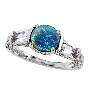 2.60 cttw 925 Sterling Silver 14K White Gold Plated Lab Created Blue Opal Engagement Ring Size 8