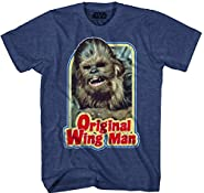 Star Wars Chewbacca Original Wing Man Furry Flyer Mens Navy Heather T-shirt