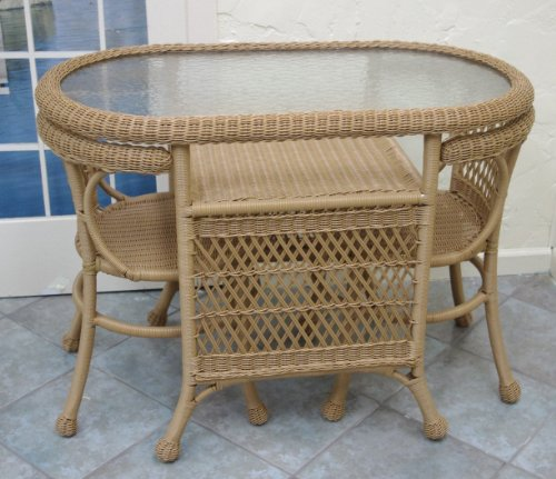 Outdoor Wicker Patio Cafe Set/3 (Natural) picture