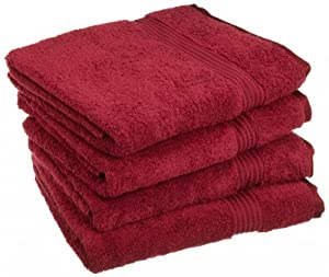 Luxury Spa Collection - 4 Piece Hand Towel Set - 100% Genuine Egyptian Cotton, BURGUNDY