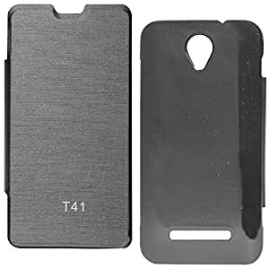 DMG Hot Pressed Durable Flip Cover For Panasonic T41 (Black)