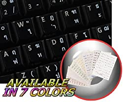 THAI KEYBOARD STICKERS WITH WHITE LETTERING ON TRANSPARENT BACKGROUND