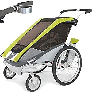 Thule Chariot Cougar 1 Child Carrier with Strolling Kit and Cup Holder - Avocado