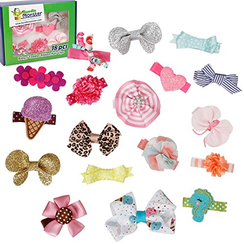 bundle-monster-18pc-ribbon-bow-flower-mixed-design-baby-girl-toddler-hair-clips-set-2