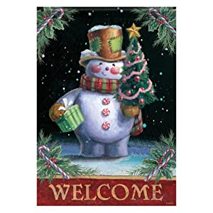 Carson 28 x 40 in. Welcome Snowman House Flag