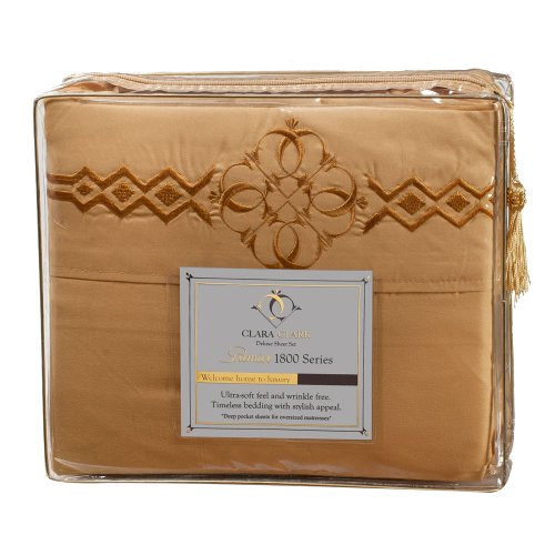 Ultimate Clara Clark Premier 1800 Bed Sheet Set - With Majestic Embroidery - Cal King Size, Camel Gold front-6074