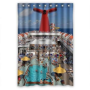 Cruise ship busy swimming pool shower curtain Swimming pool shower curtain