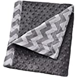 "Cozy Wozy Chevron Print Cotton And Minky Baby Blanket With Mitered Corners, Gray/White, 32"" X 37"""