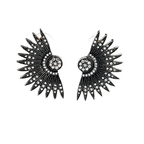 Black Metal Base Rhinestone Art Deco Fan Feather Chunky Stud Earrings (Big Feather Fans compare prices)