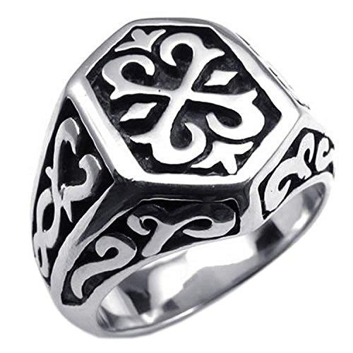 MENDINO acciaio inossidabile Thors Hammer Jewellery-Anello da Biker, colore: nero Argento, con confezione regalo, 22, cod. JRG0089SI-6 UK