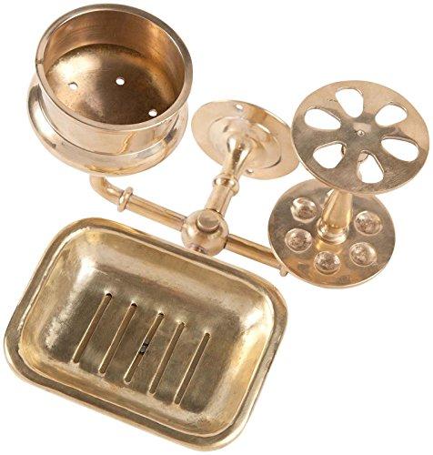 Sir/Madam Solid Brass Bath Trio Wall Hanger - Gold Bath Trio