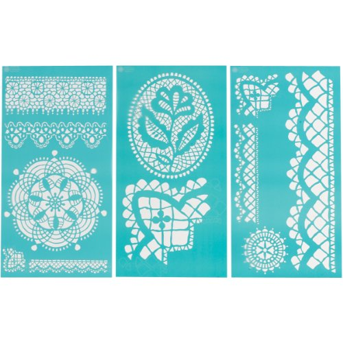 "Plaid:Craft  Martha Stewart Large Stencils 3 Sheets/Pkg-Cathedral Lace 8.75""X16.75"" 11 Designs"