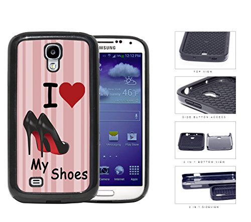 I Love My Shoes (Red) Stripes Background [Samsung Galaxy S4 I9500] 2-Piece Dual Layer High Impact Black Silicone Cover