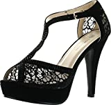JJF Shoes HY Black Formal Evening Party Lace Ankle T-Strap Peep Toe Stiletto High Heel Pumps-9