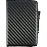 Emartbuy® ( 7 - 8 Inch Tablet ) Black Carbon Premium PU Leather 360 Degree Rotating Stand Folio Wallet Case Cover For Samsung Galaxy Tab S2 SM-T713