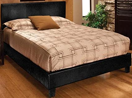 Kendall Faux leather Bed, QUEEN, BLACK