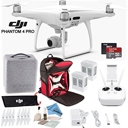 DJI-Phantom-4-Pro-Quadcopter-CPPT000488-w-Soft-Backpack-Bundle-Includes-2-Phantom-4-Batteries-Shockproof-Backpack-SanDisk-32GB-Ultra-MicroSD-Card-and-more