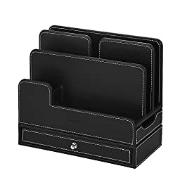 EasyAcc Double-deck Multi-device Charging Organization Station Dock Stand for iPhone 6 6s, iPad Mini 1 2 3, iPad 2 3 4, Samsung Galaxy S5 S6 Galaxy Tab 4 10.1 Macbook Air Ect. - Black Pu Leather