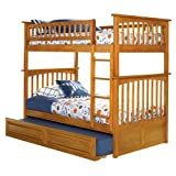 Columbia Twin Over Twin Bunk Bed with Trundle Bed - Caramel Latte