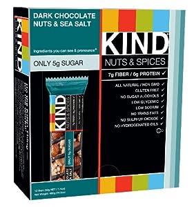 KIND Nuts & Spices, Dark Chocolate Nuts & Sea Salt, 1.4 Ounce, 12-Count Bars