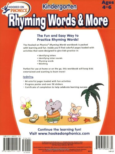 Hooked on Phonics Kindergarten Rhyming Words & More [With Poster]