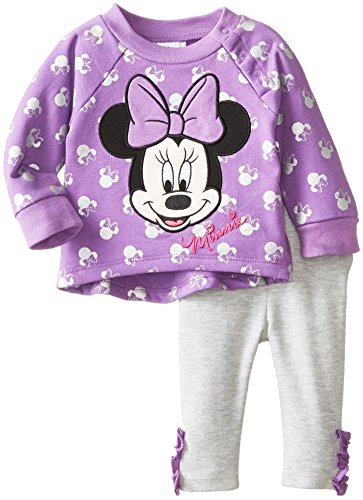 Disney Baby Baby-Girls 2 Piece Legging Set With Bow, Amethyst Orchid, 9 Months front-410328