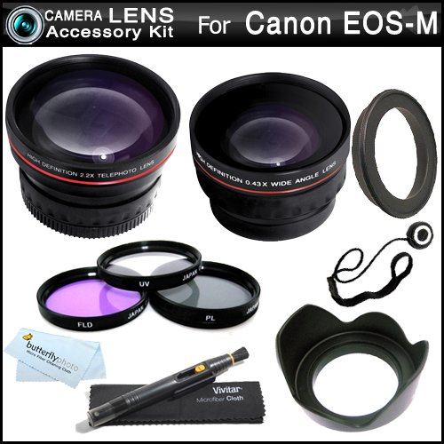 All In Lens Kit For The New Canon Eos M , Eos-M 18.0 Mp Compact Systems Camera (That Use Ef-M 22Mm F/2 Stm And Ef-M 18-55Mm Stm Lens) Includes 43Mm-52Mm Ring Adapter + Hd .43X Wide Angle Lens + 2.2X Telephoto Lens + 3 Pc Filter Kit (Uv, Cpl, Fld) + More