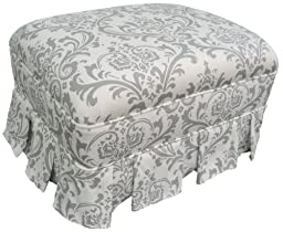 Angel Song Marquee White & Silver Adult Club Gliding Ottoman