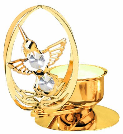 Hummingbird In Elipse Tea-Light..... With Clear Swarovski Austrian Crystal front-514410