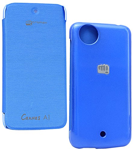 DMG Premium Leather Flip Cover For Micromax Canvas A1 Android One (Royal Blue)